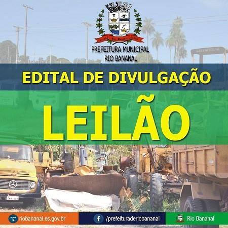 Leilão Público para alienação de veículos e bens móveis pertencentes ao município de Rio Bananal