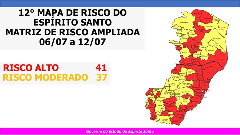 Governo do Espírito Santo divulga 12º Mapa de Risco Covid-19